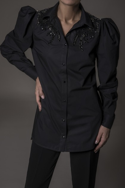 LACE INSERTIONS DETAIL AND CRYSTALS EMBROIDERY SHIRT