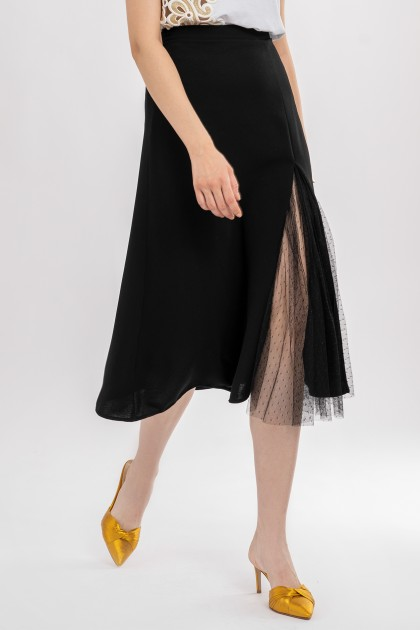 A-LINE SKIRT WITH TULLE INSERTION