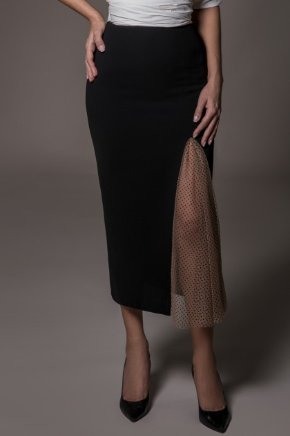 PENCIL CREPE SKIRT WITH TULLE INSERTION