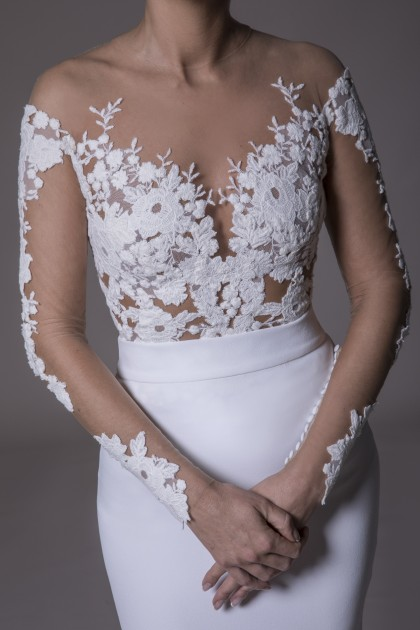 LACE EMBROIDERED ILLUSION TULLE BODYSUIT
