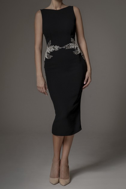 BODYCON DRESS WITH CRYSTALS EMBROIDERY