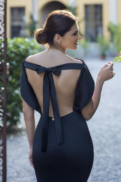 BERTHA COLLAR BACKLESS MIDI DRESS