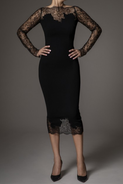 SIGNATURE V-BACK LACE MIDI DRESS