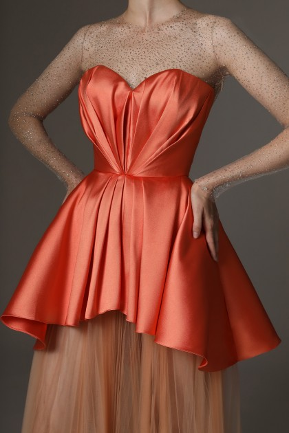 DRAPED SWEETHEART TOP MIKADO DRESS