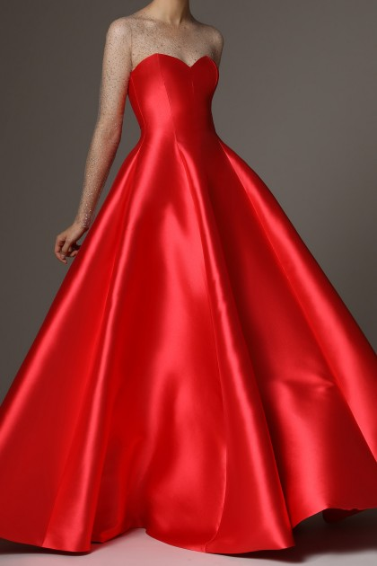 LONG STRAPLESS MIKADO DRESS