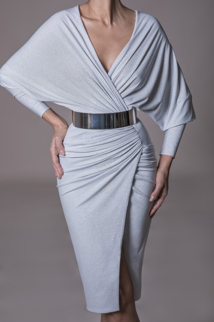 GLOWING JERSEY MIDI WRAP DRESS