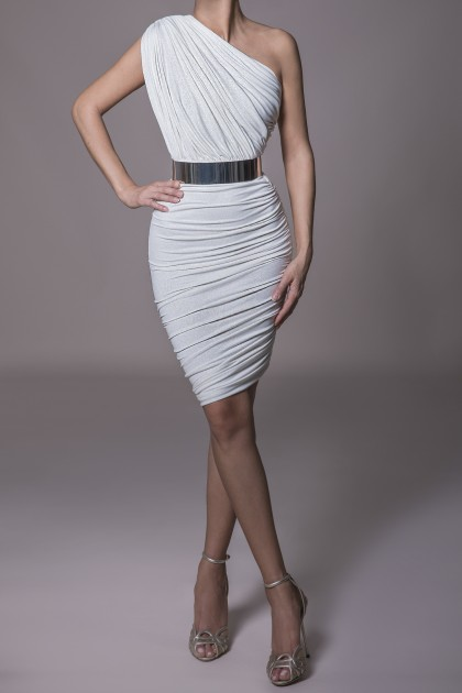 ONE SHOULDER RUCHED JERSEY DRESS