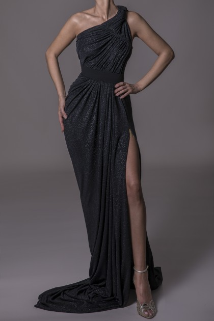 SIDE METALLIC ZIPPER GOWN