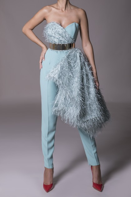 CREPE AND FAUX FEATHERS JUMPSUIT