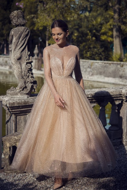GLOWING GLITTER TULLE BODICE GOWN