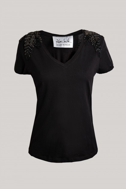 ANGEL WINGS SHOULDER V-NECK T-SHIRT BLACK