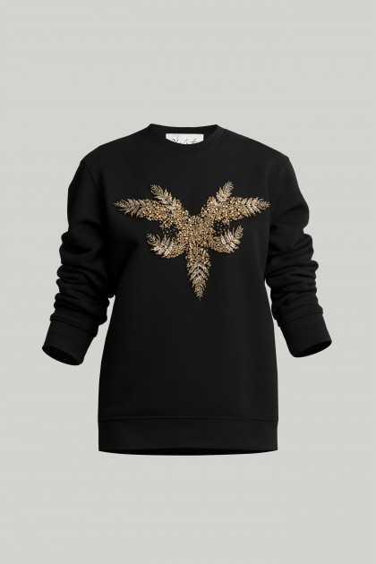 BLACK SWEATSHIRT WITH FRONT CRYSTAL EMBROIDERY