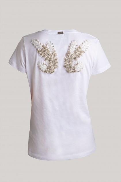 ANGEL WINGS BACK V-NECK T-SHIRT WHITE