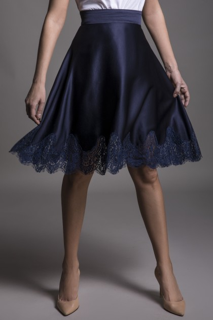 A-LINE SKIRT WITH LACE INSERTS