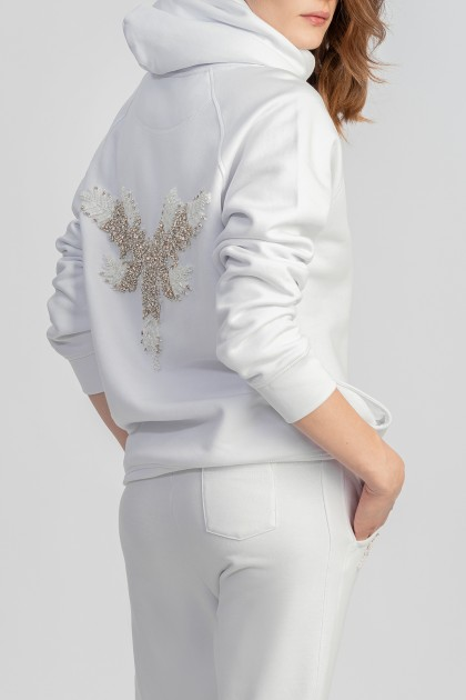 HOODED ORGANIC COTTON SWEATSHIRT WITH BACK EMBROIDERY