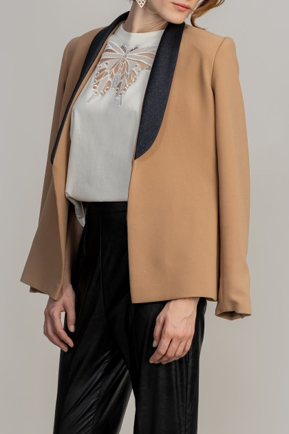 CREPE COLOUR BLOCK JACKET