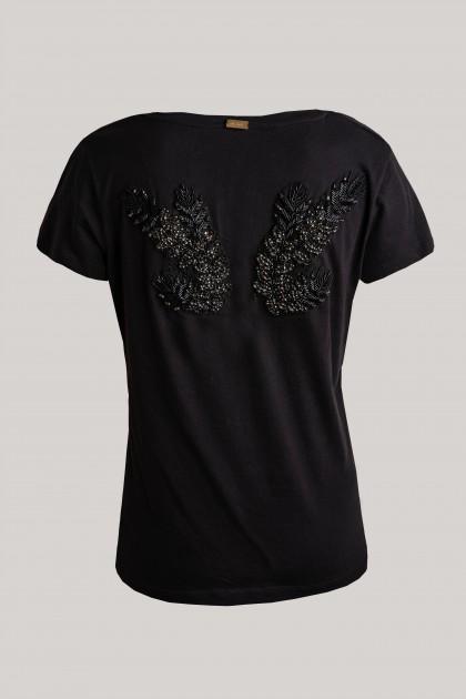 ANGEL WINGS BACK V-NECK T-SHIRT BLACK