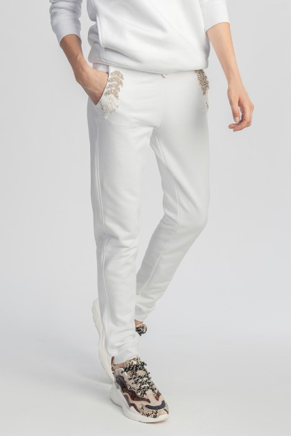 WHITE EMBROIDERED ORGANIC COTTON TRACK PANTS