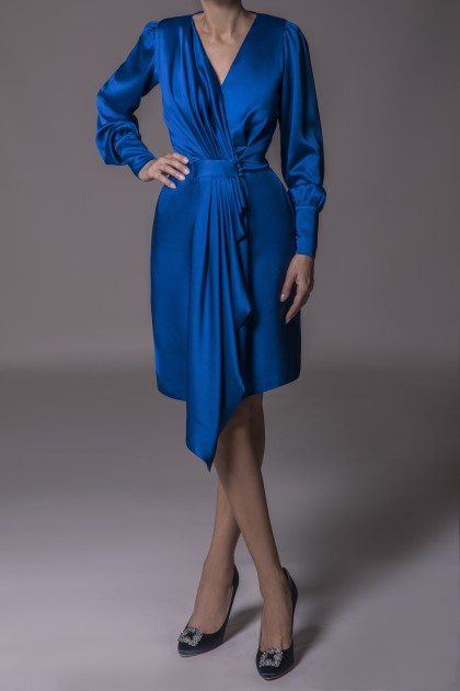 MIDI SATIN WRAPPED DRESS
