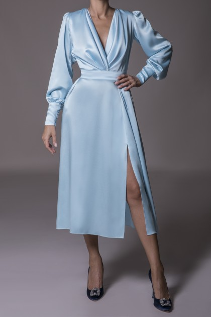 MIDI SATIN DRESS WITH SIDE SLIT