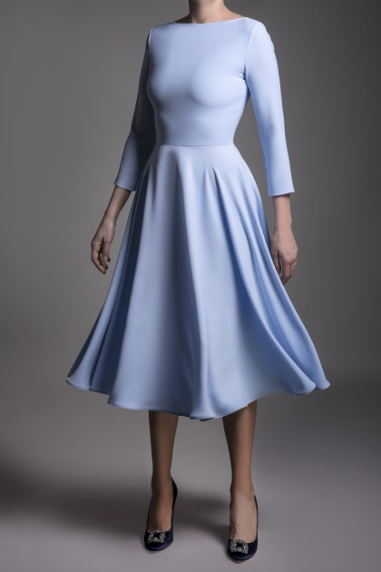 CLASSIC TIMELESS FLARED CREPE DRESS