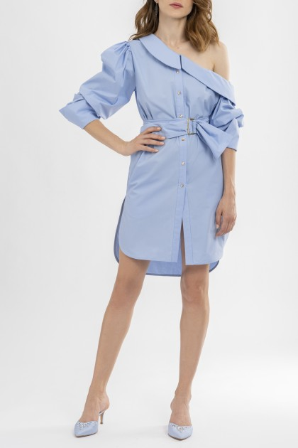 OFF THE SHOULDER MIDI SHIRT DRESS