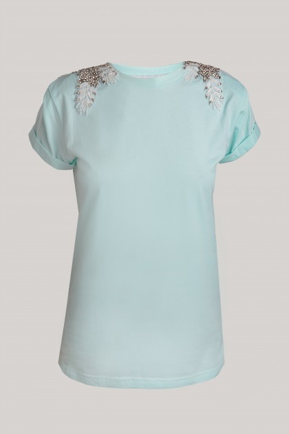 MINT ANGEL WINGS SHOULDER CLASSICAL NECKLINE T-SHIRT
