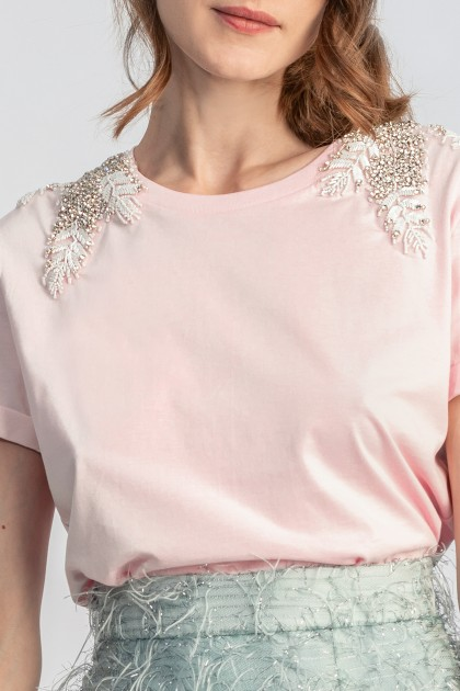 PINK ANGEL WINGS SHOULDER CLASSICAL NECKLINE T-SHIRT