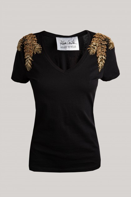 GOLD ANGEL WINGS SHOULDER V-NECK T-SHIRT BLACK