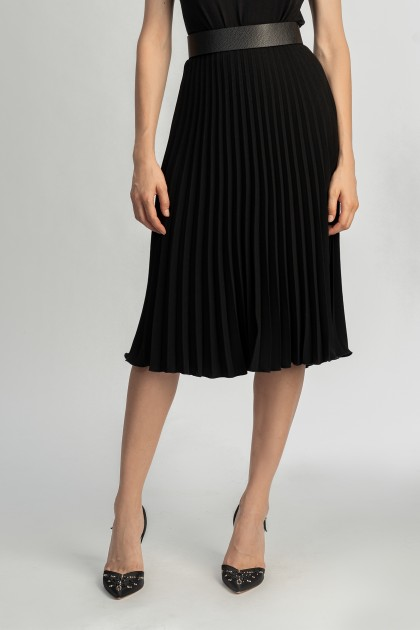 BLACK PLEATED CREPE MIDI SKIRT