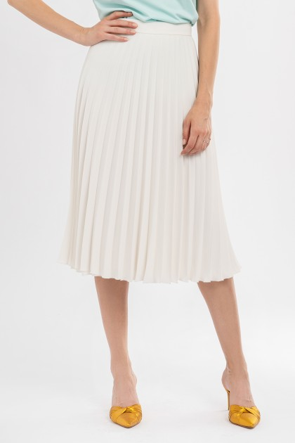 WHITE PLEATED CREPE MIDI SKIRT