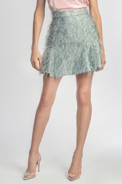 SHORT FAUX FEATHERS SKIRT