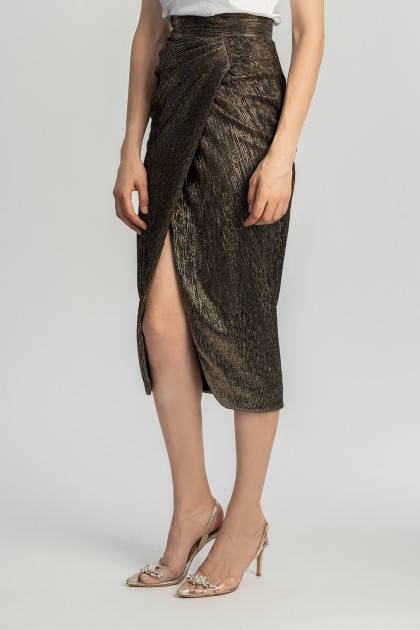 METALLIC MIDI WRAP SKIRT