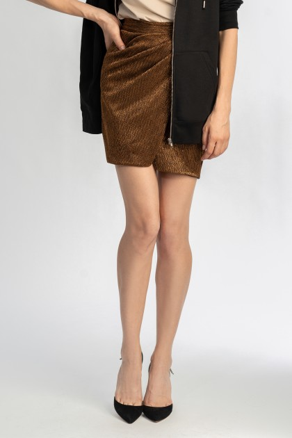 SHORT METALLIC WRAP SKIRT