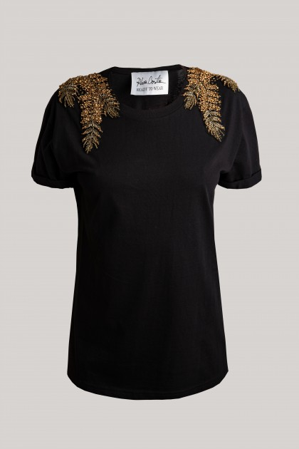 GOLD ANGEL WINGS CLASSICAL NECKLINE T-SHIRT BLACK