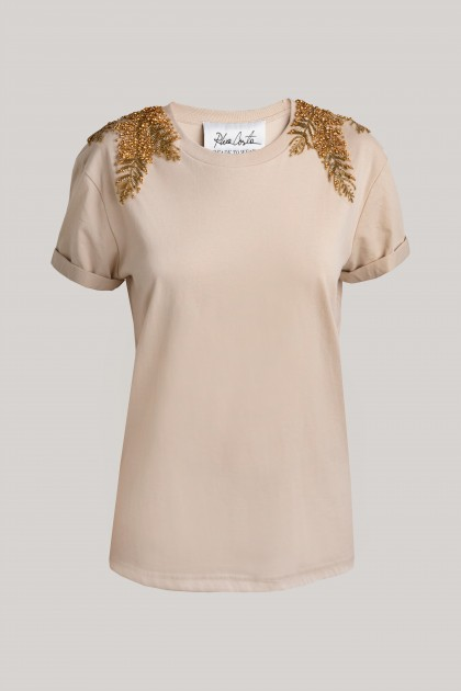 GOLD ANGEL WINGS CLASSICAL NECKLINE T-SHIRT NUDE
