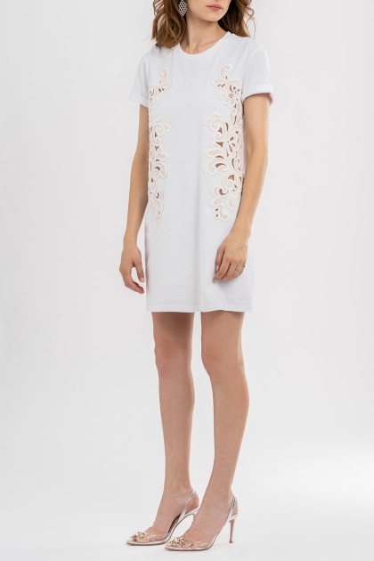 CUT OUT RICH EMBROIDERY ORGANIC COTTON DRESS WHITE