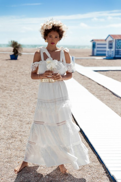 LONG LINEN WITH LACE INSERTIONS DRESS