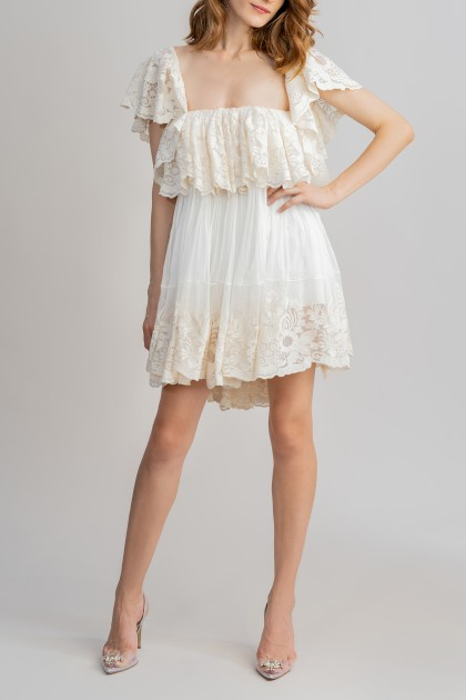 LACE RUFFLE SHORT DRESS