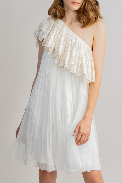 RUFFLED ONE-SHOULDER MIDI DRESS