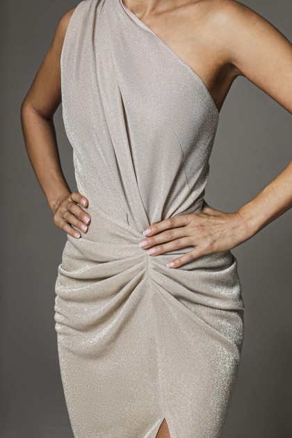 ONE SHOULDER MIDI JERSEY DRESS