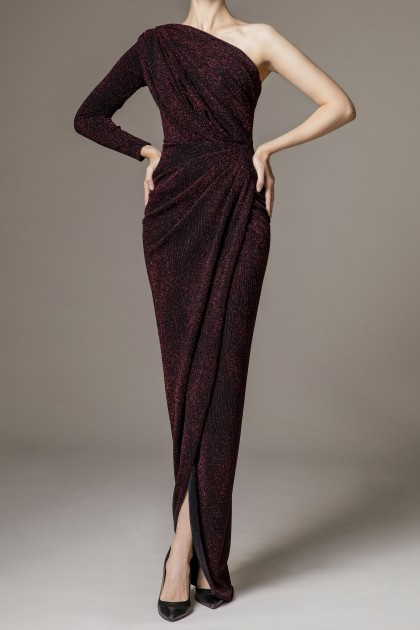 LONG SLEEVE ONE SHOULDER GOWN