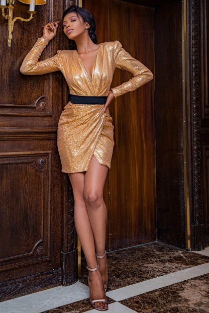 LONG SLEEVES SHORT SEQUIN DRESS