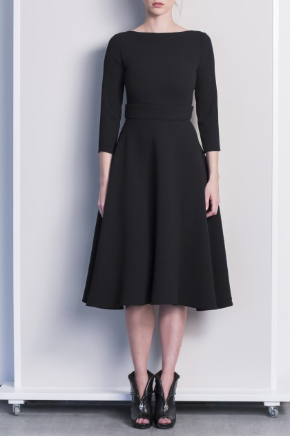 REFINED OFFICE CREPE BLACK DRESS