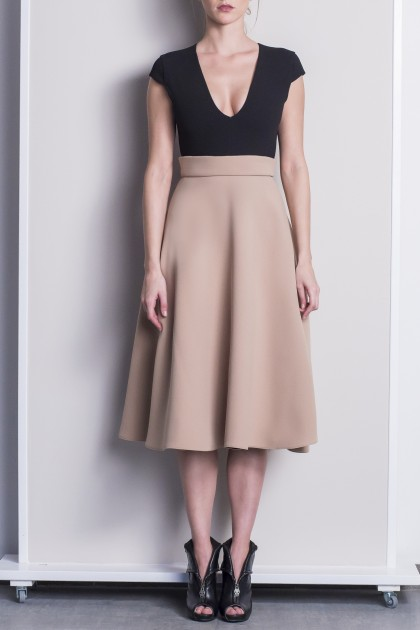 GRACIOUS BLACK AND NUDE MIDI OFFICE DRESS