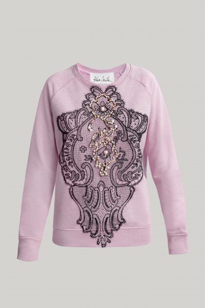 SWAROVSKI AND LACE EMBROIDERED SWEATSHIRT