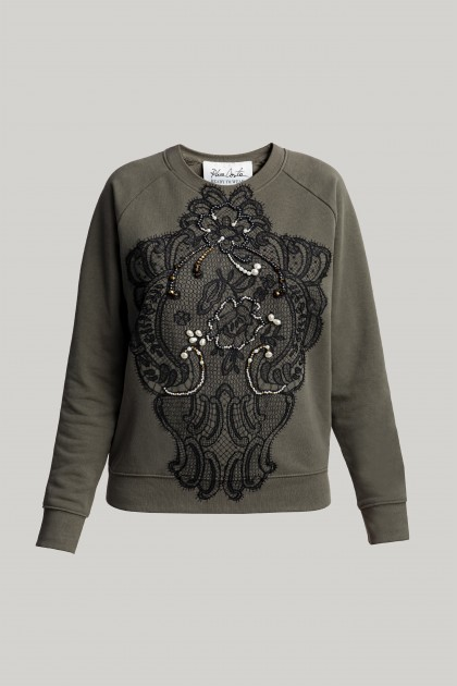 SLEEK SWAROVSKI AND LACE EMBROIDERED SWEATSHIRT