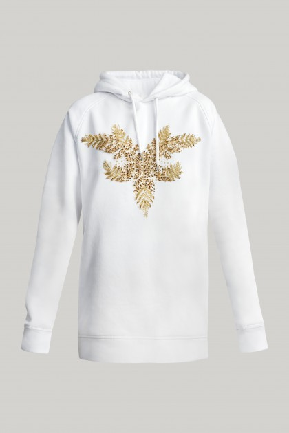 WHITE HOODIE WITH FRONT CRYSTAL EMBROIDERY