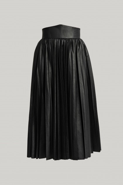 HIGH WAITSTED PLEATED VEGAN LEATHER SKIRT