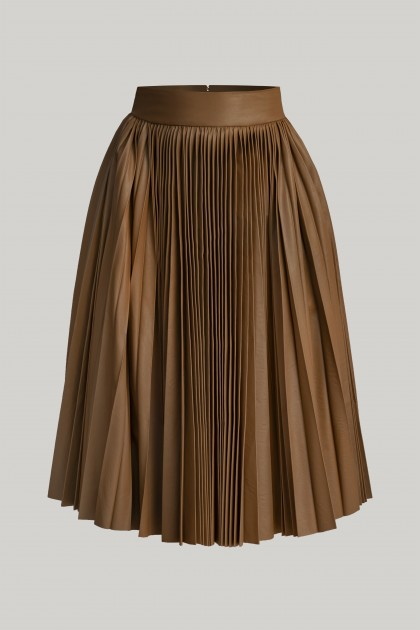 PLEATED VEGAN LEATHER MIDI SKIRT